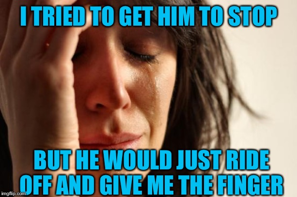 First World Problems Meme | I TRIED TO GET HIM TO STOP BUT HE WOULD JUST RIDE OFF AND GIVE ME THE FINGER | image tagged in memes,first world problems | made w/ Imgflip meme maker