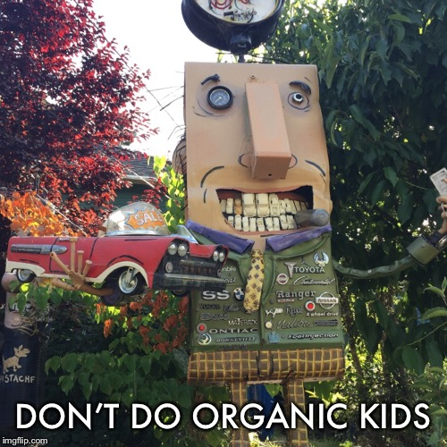 And they said organic is safe... | DON'T DO ORGANIC KIDS | image tagged in organic,warning,funny,memes | made w/ Imgflip meme maker