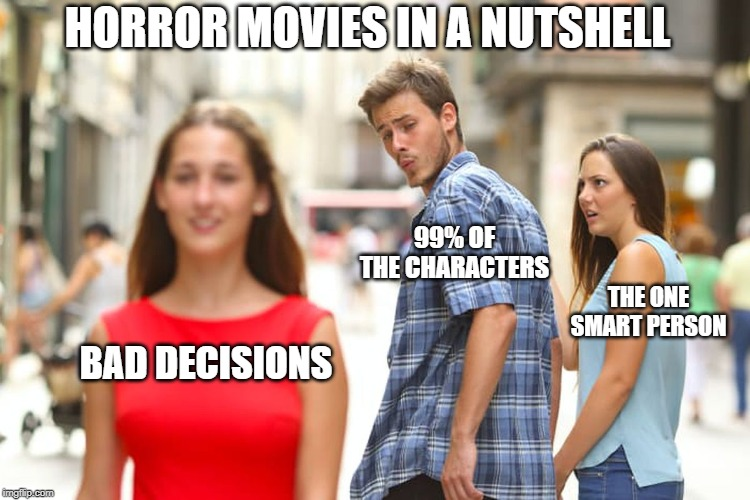 Distracted Boyfriend | BAD DECISIONS 99% OF THE CHARACTERS THE ONE SMART PERSON HORROR MOVIES IN A NUTSHELL | image tagged in memes,distracted boyfriend | made w/ Imgflip meme maker