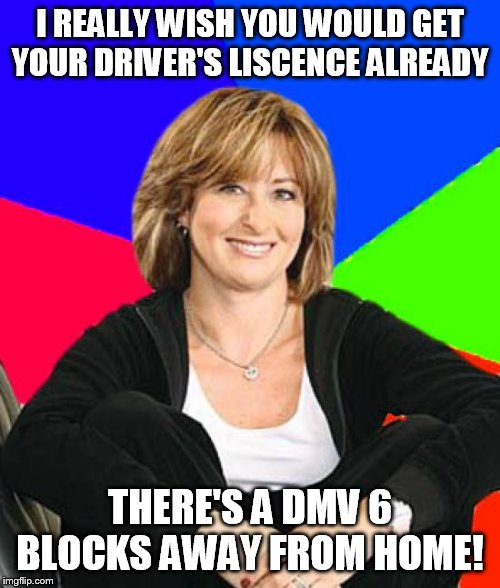 There's a DMV right there! | I REALLY WISH YOU WOULD GET YOUR DRIVER'S LISCENCE ALREADY THERE'S A DMV 6 BLOCKS AWAY FROM HOME! | image tagged in memes,sheltering suburban mom,dmv,driver's,liscence,close | made w/ Imgflip meme maker