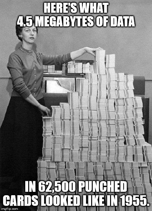4.5 Megabytes |  HERE'S WHAT 4.5 MEGABYTES OF DATA; IN 62,500 PUNCHED CARDS LOOKED LIKE IN 1955. | image tagged in megabytes,data,punch,cards | made w/ Imgflip meme maker