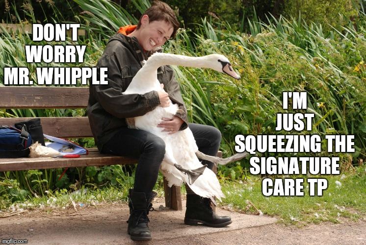 DON'T WORRY MR. WHIPPLE I'M JUST SQUEEZING THE SIGNATURE CARE TP | made w/ Imgflip meme maker