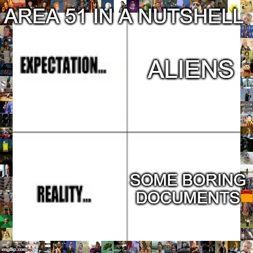 Expectation vs Reality | ALIENS SOME BORING DOCUMENTS AREA 51 IN A NUTSHELL | image tagged in expectation vs reality | made w/ Imgflip meme maker