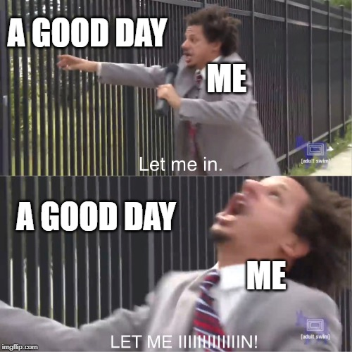let me in | A GOOD DAY A GOOD DAY ME ME | image tagged in let me in,eric andre,2019,good day,funny memes,adult swim | made w/ Imgflip meme maker