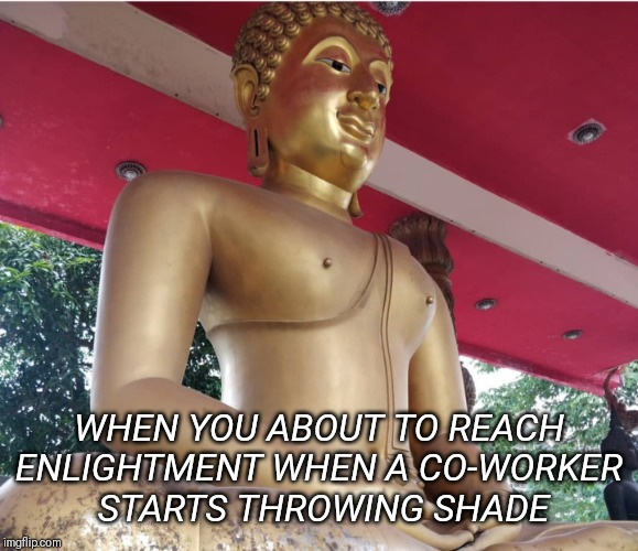 WHEN YOU ABOUT TO REACHENLIGHTMENT WHEN A CO-WORKER STARTS THROWING SHADE | image tagged in work,coworker,shade,buddha,buddhism | made w/ Imgflip meme maker