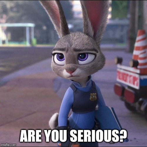 Unamused Judy Hopps |  ARE YOU SERIOUS? | image tagged in judy hopps serious,zootopia,judy hopps,are you serious,parody,funny | made w/ Imgflip meme maker