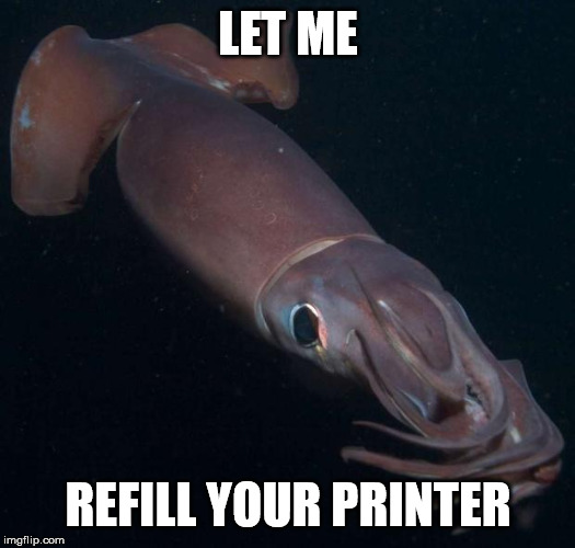 LET ME REFILL YOUR PRINTER | image tagged in humboldt squid 2 | made w/ Imgflip meme maker