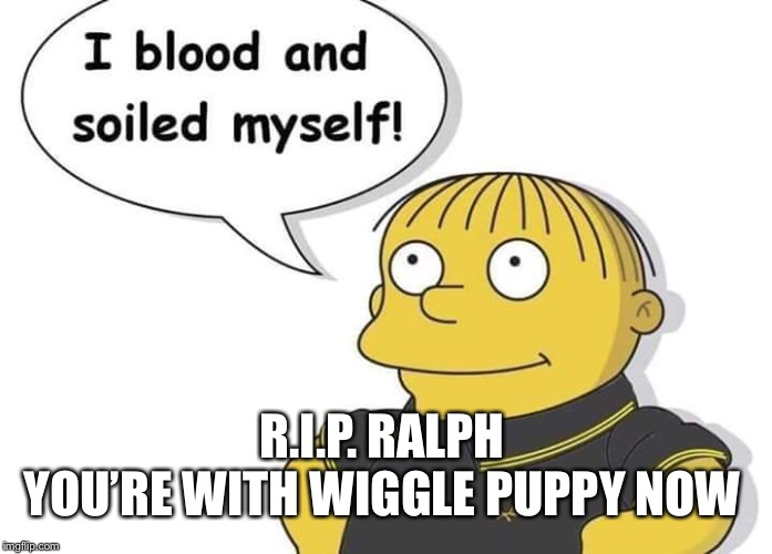 R.I.P. Ralph | R.I.P. RALPH YOU'RE WITH WIGGLE PUPPY NOW | image tagged in ralph wiggum,wiggle,puppy | made w/ Imgflip meme maker