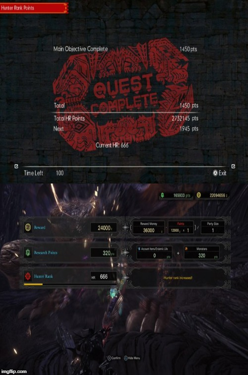 I hit Hunter Rank 666 in both MHGU & MHW at the same time. | image tagged in 666 | made w/ Imgflip meme maker