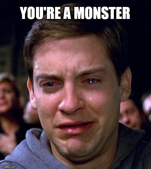crying peter parker | YOU'RE A MONSTER | image tagged in crying peter parker | made w/ Imgflip meme maker