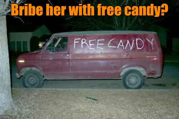 Free candy van | Bribe her with free candy? | image tagged in free candy van | made w/ Imgflip meme maker
