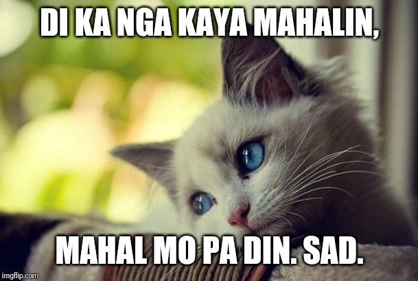 First World Problems Cat | DI KA NGA KAYA MAHALIN, MAHAL MO PA DIN. SAD. | image tagged in memes,first world problems cat | made w/ Imgflip meme maker