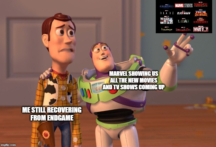 X, X Everywhere | ME STILL RECOVERINGFROM ENDGAME MARVEL SHOWING USALL THE NEW MOVIESAND TV SHOWS COMING UP | image tagged in memes,x x everywhere,marvel,avengers endgame,avengers,endgame | made w/ Imgflip meme maker