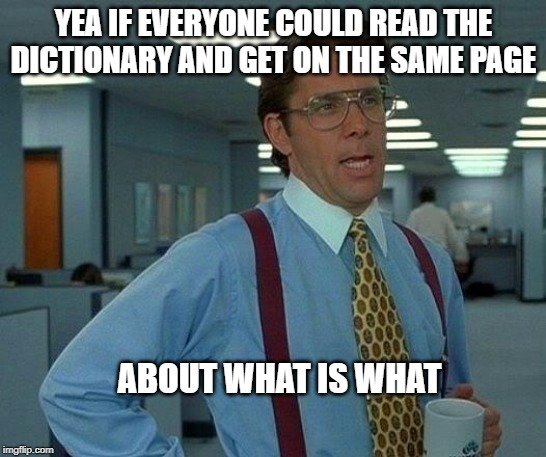 That Would Be Great Meme | YEA IF EVERYONE COULD READ THE DICTIONARY AND GET ON THE SAME PAGE ABOUT WHAT IS WHAT | image tagged in memes,that would be great | made w/ Imgflip meme maker