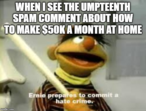 Dagnabbit, you can't even advertise it well! | WHEN I SEE THE UMPTEENTH SPAM COMMENT ABOUT HOW TO MAKE $50K A MONTH AT HOME | image tagged in ernie prepares to commit a hate crime,memes,funny,spam,comments,foreign | made w/ Imgflip meme maker