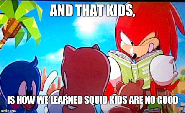 knuckles | AND THAT KIDS, IS HOW WE LEARNED SQUID KIDS ARE NO GOOD | image tagged in knuckles | made w/ Imgflip meme maker