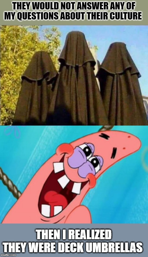 just trying to be friendly |  THEY WOULD NOT ANSWER ANY OF MY QUESTIONS ABOUT THEIR CULTURE; THEN I REALIZED THEY WERE DECK UMBRELLAS | image tagged in patrick star,joke,silly | made w/ Imgflip meme maker