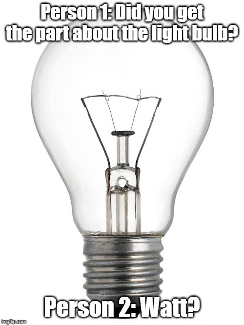 Watt did you say? |  Person 1: Did you get the part about the light bulb? Person 2: Watt? | image tagged in light bulb,puns | made w/ Imgflip meme maker