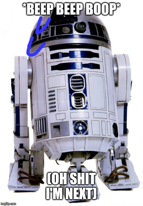 R2 D2 | *BEEP BEEP BOOP* (OH SHIT I'M NEXT) | image tagged in r2 d2 | made w/ Imgflip meme maker