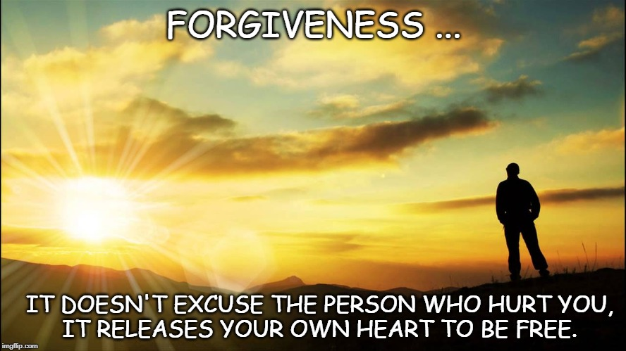 inspirational | FORGIVENESS ... IT DOESN'T EXCUSE THE PERSON WHO HURT YOU, IT RELEASES YOUR OWN HEART TO BE FREE. | image tagged in inspirational | made w/ Imgflip meme maker
