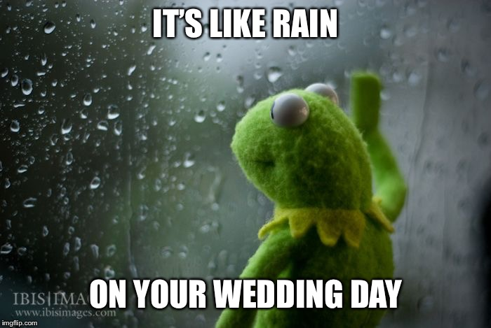 kermit window | IT'S LIKE RAIN ON YOUR WEDDING DAY | image tagged in kermit window | made w/ Imgflip meme maker