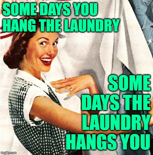 The Sassy Laundress | SOME DAYS YOU HANG THE LAUNDRY SOME DAYS THE LAUNDRY HANGS YOU | image tagged in vintage laundry woman,mashup,big lebowski,movie quotes,lol so funny,housework | made w/ Imgflip meme maker