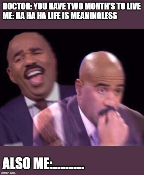 Steve Harvey Laughing Serious | DOCTOR: YOU HAVE TWO MONTH'S TO LIVE ME: HA HA HA LIFE IS MEANINGLESS ALSO ME:............ | image tagged in steve harvey laughing serious,nihilism,funny,funny memes | made w/ Imgflip meme maker