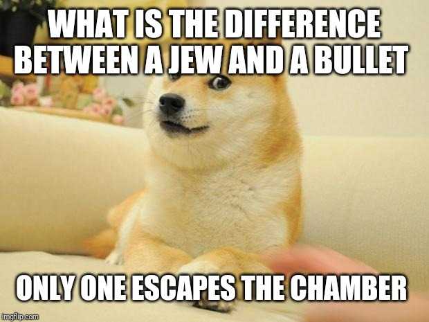 Courtesy of my friend lol.... |  WHAT IS THE DIFFERENCE BETWEEN A JEW AND A BULLET; ONLY ONE ESCAPES THE CHAMBER | image tagged in memes,doge 2 | made w/ Imgflip meme maker