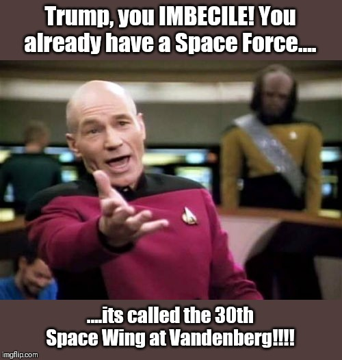 Picard Wtf Meme | Trump, you IMBECILE! You already have a Space Force.... ....its called the 30th Space Wing at Vandenberg!!!! | image tagged in memes,picard wtf | made w/ Imgflip meme maker