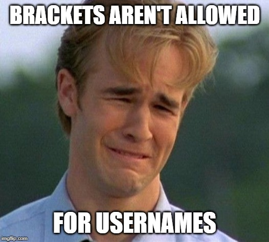 1990s First World Problems Meme | BRACKETS AREN'T ALLOWED FOR USERNAMES | image tagged in memes,1990s first world problems | made w/ Imgflip meme maker