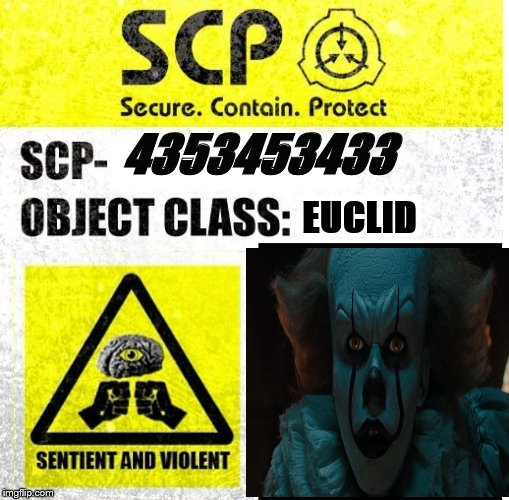 SCP Sign Generator | 4353453433 EUCLID | image tagged in scp sign generator | made w/ Imgflip meme maker