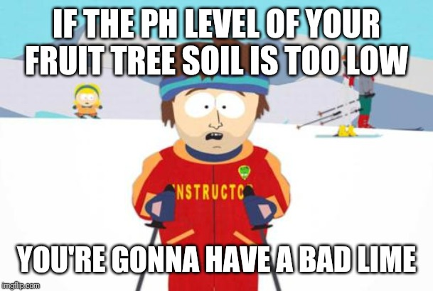 South Park Ski Instructor | IF THE PH LEVEL OF YOUR FRUIT TREE SOIL IS TOO LOW YOU'RE GONNA HAVE A BAD LIME | image tagged in south park ski instructor | made w/ Imgflip meme maker