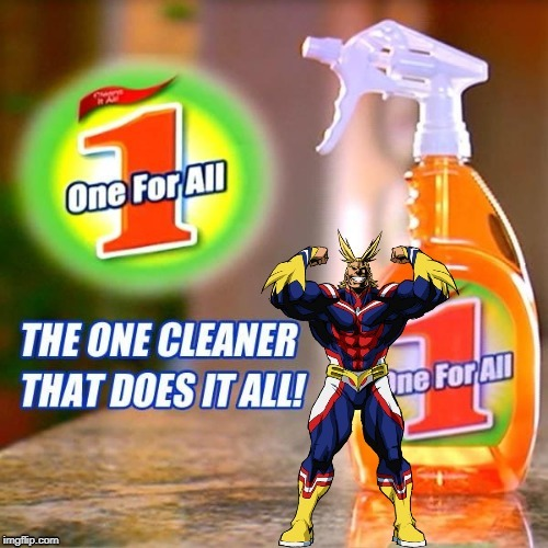 One For All Cleaner | image tagged in my hero academia,boku no hero academia,all might,anime meme,anime,animeme | made w/ Imgflip meme maker