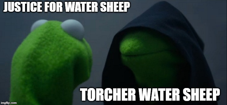Evil Kermit Meme | JUSTICE FOR WATER SHEEP TORCHER WATER SHEEP | image tagged in memes,evil kermit | made w/ Imgflip meme maker
