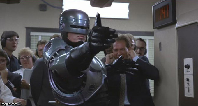 Robocop thumbs | image tagged in robocop thumbs | made w/ Imgflip meme maker