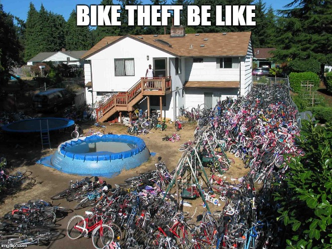 BIKE THEFT BE LIKE | image tagged in bike,theft | made w/ Imgflip meme maker