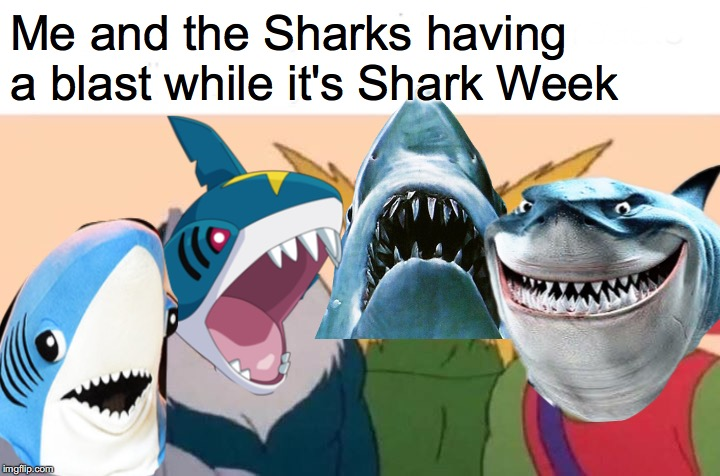 Happy Shark Week |  Me and the Sharks having a blast while it's Shark Week | image tagged in shark week | made w/ Imgflip meme maker