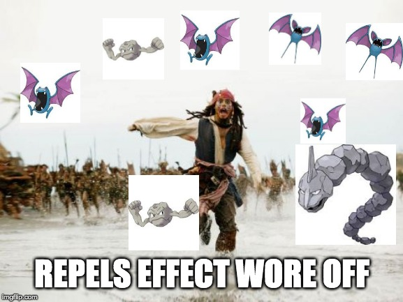 Jack Sparrow Being Chased Meme | REPELS EFFECT WORE OFF | image tagged in memes,jack sparrow being chased | made w/ Imgflip meme maker