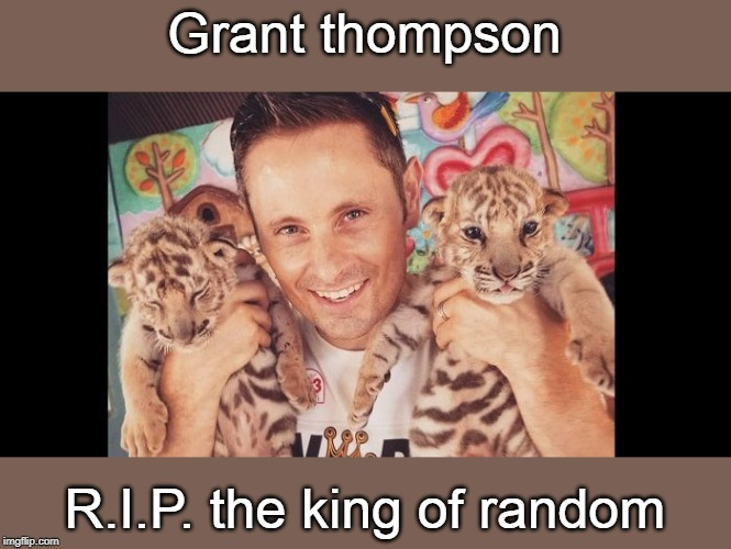 gone but not forgotten. | Grant thompson R.I.P. the king of random | image tagged in king of random,grant tompson,youtubers,fun stuff,meme 20 | made w/ Imgflip meme maker