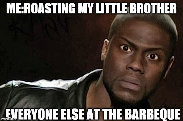 Kevin Hart Meme | ME:ROASTING MY LITTLE BROTHER EVERYONE ELSE AT THE BARBEQUE | image tagged in memes,kevin hart | made w/ Imgflip meme maker