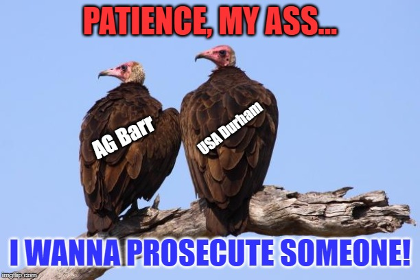 No Charges Against Comey for Leaking Classified Materials |  PATIENCE, MY ASS... USA Durham; AG Barr; I WANNA PROSECUTE SOMEONE! | image tagged in vultures,james comey,patience,lock him up | made w/ Imgflip meme maker