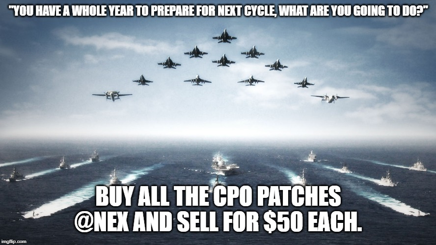 "US Navy | ""YOU HAVE A WHOLE YEAR TO PREPARE FOR NEXT CYCLE, WHAT ARE YOU GOING TO DO?"" BUY ALL THE CPO PATCHES @NEX AND SELL FOR $50 EACH. 