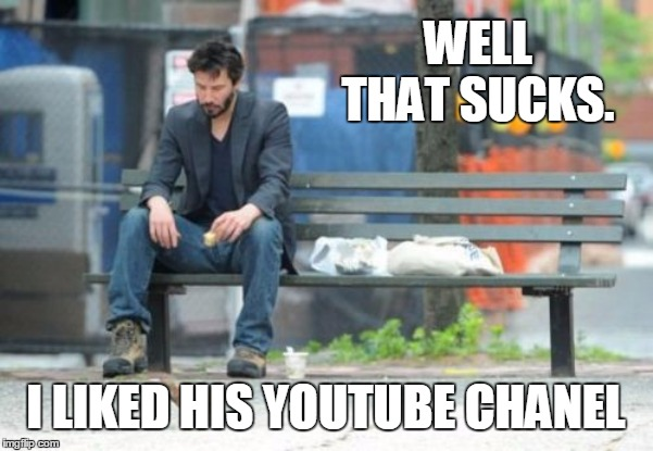 Sad Keanu Meme | WELL THAT SUCKS. I LIKED HIS YOUTUBE CHANEL | image tagged in memes,sad keanu | made w/ Imgflip meme maker