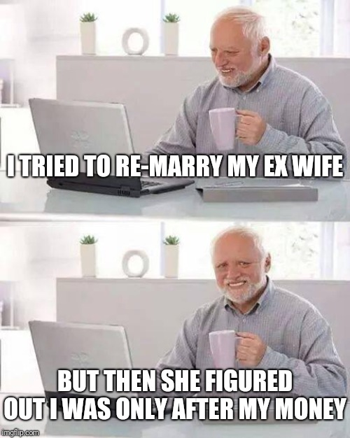 Who could pull it off? |  I TRIED TO RE-MARRY MY EX WIFE; BUT THEN SHE FIGURED OUT I WAS ONLY AFTER MY MONEY | image tagged in hide the pain harold,funny memes,lol,marriage,quality,men | made w/ Imgflip meme maker