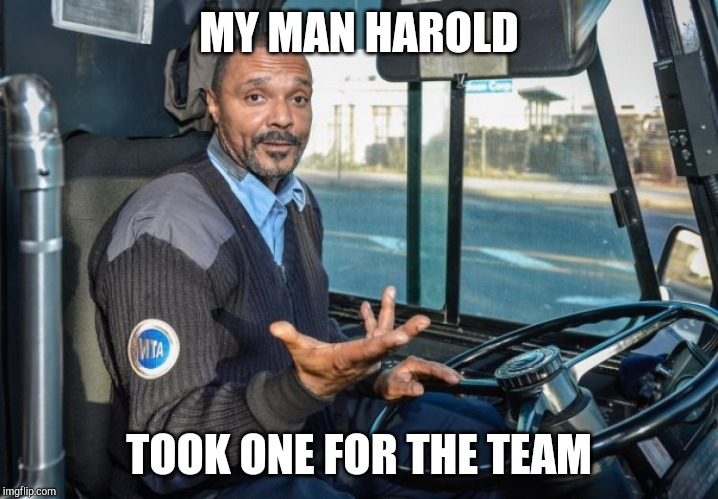 Bus Driver | MY MAN HAROLD TOOK ONE FOR THE TEAM | image tagged in bus driver | made w/ Imgflip meme maker