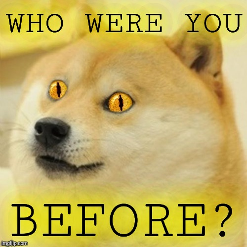 Doge Snake Eyes | WHO WERE YOU BEFORE? | image tagged in doge snake eyes | made w/ Imgflip meme maker
