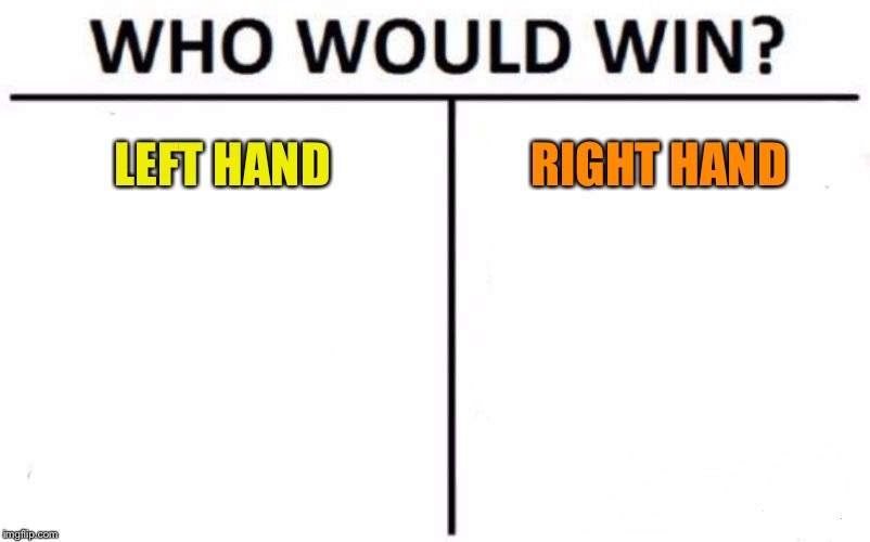 Who Would Win? Meme | LEFT HAND RIGHT HAND | image tagged in memes,who would win | made w/ Imgflip meme maker