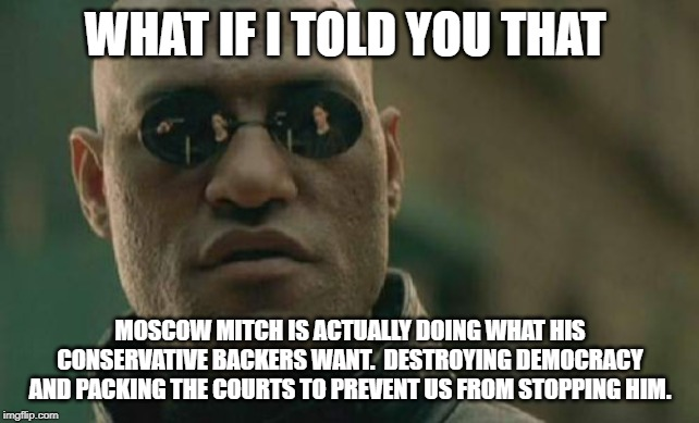 Matrix Morpheus |  WHAT IF I TOLD YOU THAT; MOSCOW MITCH IS ACTUALLY DOING WHAT HIS CONSERVATIVE BACKERS WANT.  DESTROYING DEMOCRACY AND PACKING THE COURTS TO PREVENT US FROM STOPPING HIM. | image tagged in memes,matrix morpheus,AdviceAnimals | made w/ Imgflip meme maker