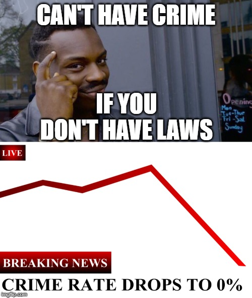 Can't have crime if you don't have laws | CAN'T HAVE CRIME IF YOU DON'T HAVE LAWS | image tagged in memes,roll safe think about it | made w/ Imgflip meme maker