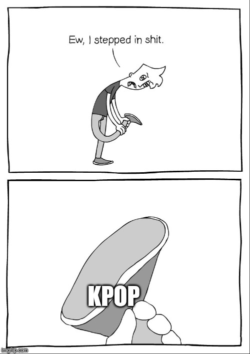 *Sniffs* I can smell the hate coming.... | KPOP | image tagged in ew i stepped in shit,kpop,sucks,music | made w/ Imgflip meme maker